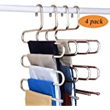 Fashion Easy Pants Hangers S-Shape Trousers Hangers Stainless Steel Closet Organization Space Saving for Pants Jeans Scarf Ti