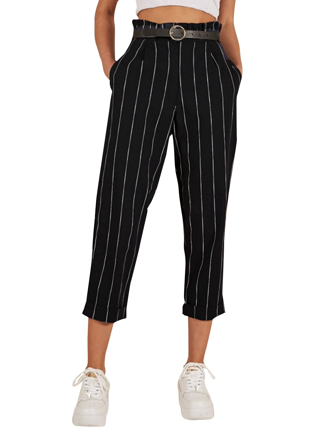 Simplee Apparel Women's Casual High Waisted Stripes Pants with Pockets Black US 8