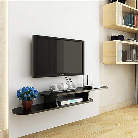 Mueble de Televisión Montado en la Pared Estante Flotante Dormitorio en el Hogar Estante de Pared Estante para Mesa Consola Multimedia Soporte para TV Negro/Blanco (Color: Negro, Tamaño: 1.3M), TV: Amazon.es: Deportes