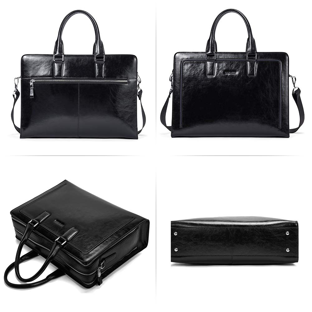 BOSTANTEN Women Genuine Leather Briefcase Tote Business Vintage Handbag 15.6'' Laptop Shoulder Bag Black by BOSTANTEN (Image #6)