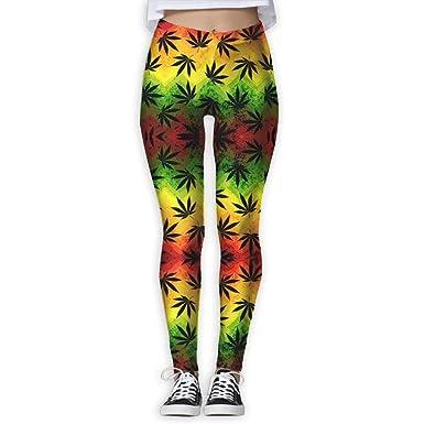 Deglogse Yoga Pants,Workout Leggings,Geometric Rasta Weeds ...