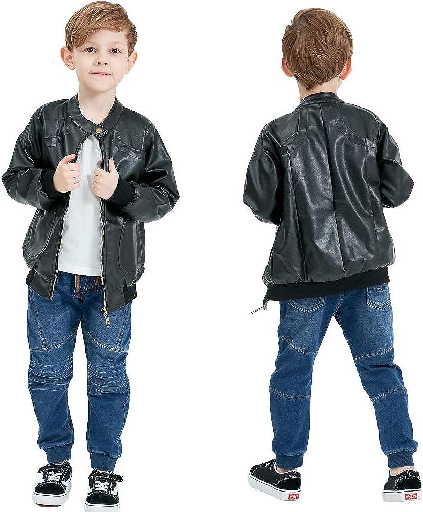 Grandwish Giacca in Ecopelle di Moda Cappotto Stand Collare per Ragazzi Ragazze 4 anni-14 Anni