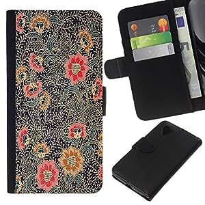 For LG Nexus 5 D820 D821 Case , Painting Oriental Art Red Black - la tarjeta de Crédito Slots PU Funda de cuero Monedero caso cubierta de piel