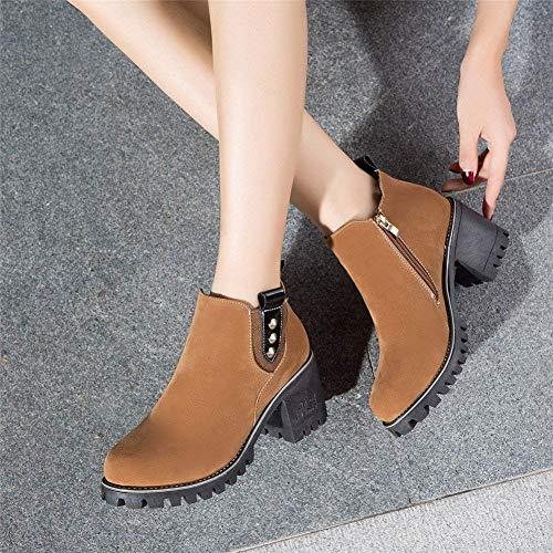 Donna 38 Low Boots Tacco Da 's Ribattini Deed Eu Autumn Scarpe Shoes Head Rivets Rivetti Winter EnzqUF6x