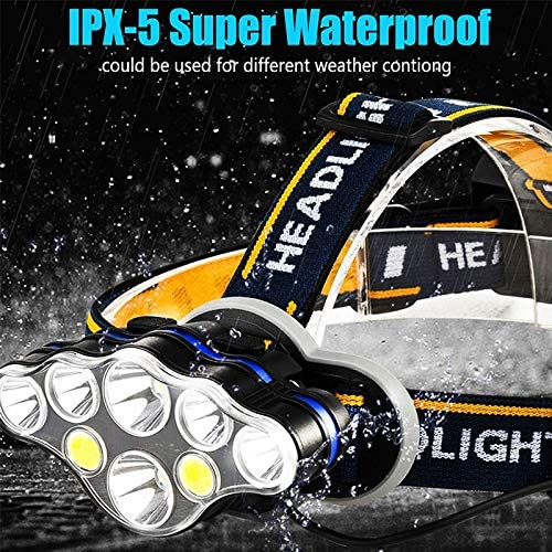 junfeng LED Head Torch LED Headlamp Rechargeable T6 COB Headlight Lamps 6000 Lumens Flashlight Zoomable Waterproof for Camping