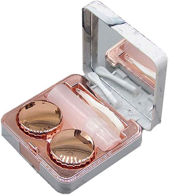 Drawihi Mini Caja Portatil Viaje Gafas Y Lentillas Elegante para Mármol Cuadrado Lentes De Contacto Tamano De Bolsillo(Oro Rosa): Amazon.es: Coche y moto