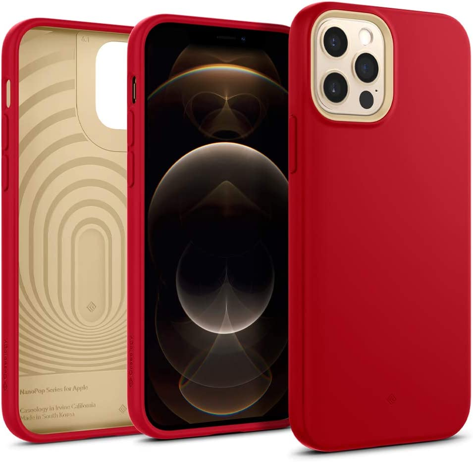 Caseology Nano Pop Silicone Case Compatible with iPhone 12 Pro Case Compatible with iPhone 12 Case (2020) - Red