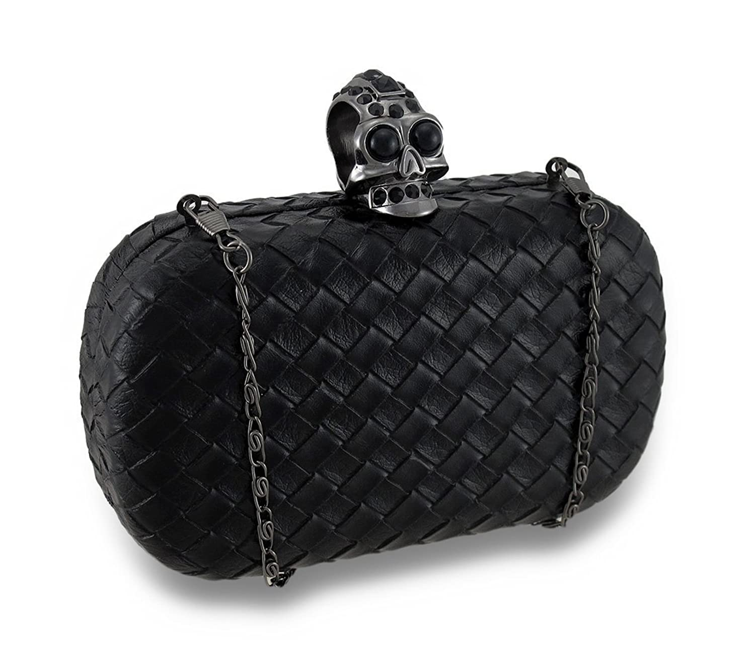 Black Basket Weave Rhinestone Skull Knuckle Ring Clutch Purse w/Detachable Chain
