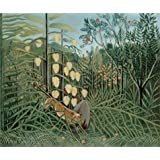 Canvas Prints Of Oil Painting ' In A Tropical Forest Struggle Between Tiger And Bull,1909 By Henri Rousseau ' , 24 x 29 inch / 61 x 73 cm , Polyster Canvas, Foyer, Game Room And Powder Room Decoration