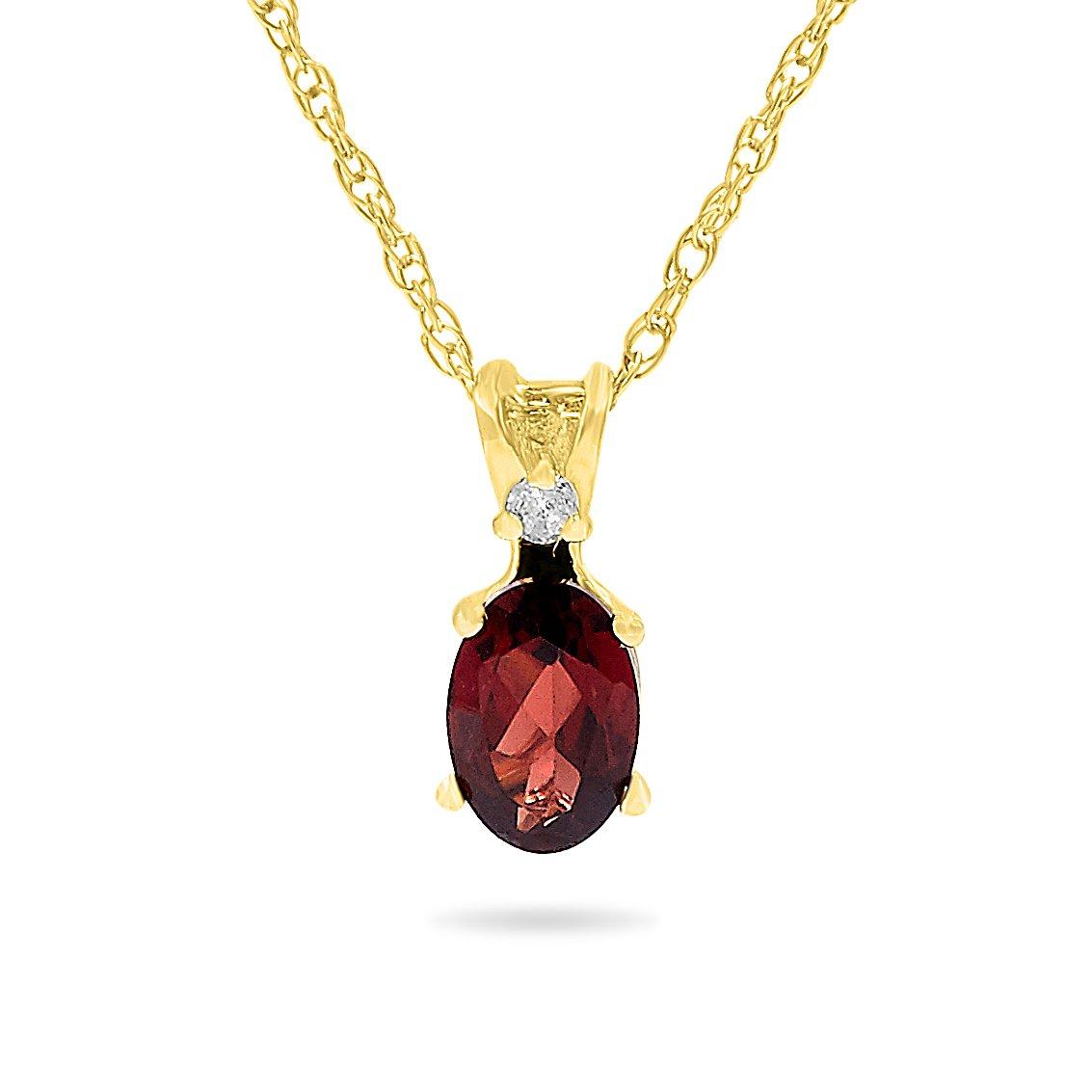 14k Yellow Gold Genuine Oval Garnet and Diamond Pendant, Birthstone of January, 18'' Chain