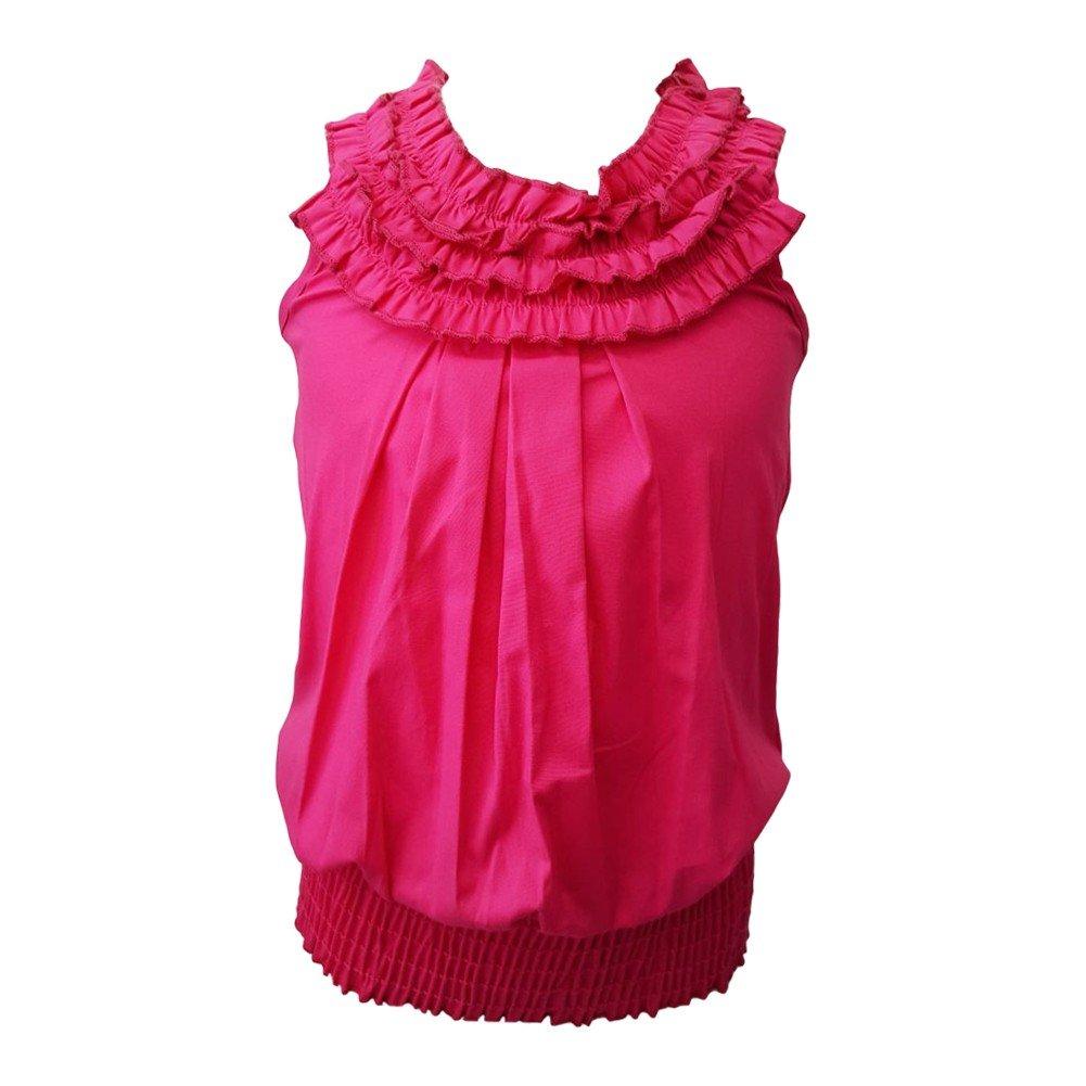 Big Girls Fuchsia Ruffled Neckline Elastic Waist Sleeveless Blouse Top 8-14