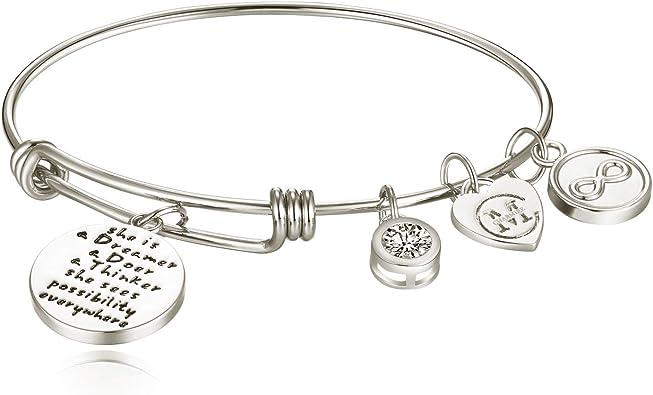 Expandable Bangle Bracelet STERLING SILVER California Personalized Initial Charm Adjustable Bangle bracelet Best friend gift S-13