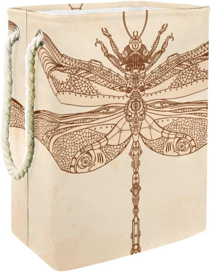 DJROW Laundry Hamper Abstract Animal Steampunk Dragonfly Large Collapsible Laundry Basket