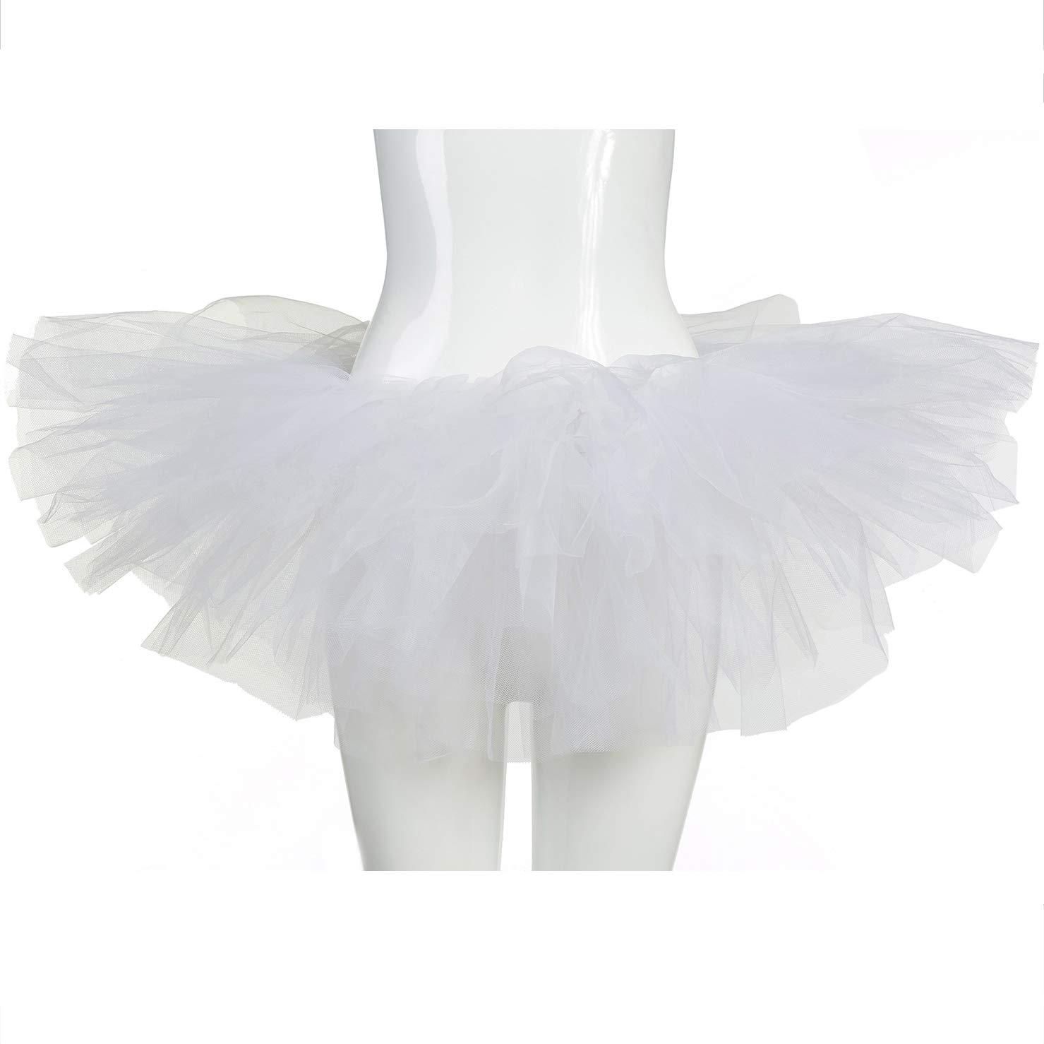 belababy White Women Skirt Classic 5 Layers Tulle Tutu