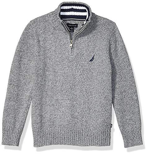 Nautica Boys' Big 1/4 Zip Logo Pullover Sweater, Grey Marl, X-Large (18/20)