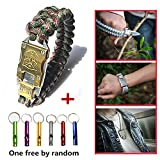 WEREWOLVES Outdoor Survival Multi Functional EDC Tactical 7 Core Parachute Survival Rope Bracelet With Packet Knife Self Defense (Army Green Camo)