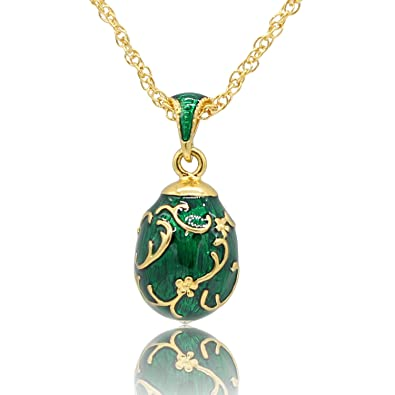 Myd jewellery hand enameled flower floral russian faberg style egg myd jewellery hand enameled flower floral russian faberg style egg pendant necklace with chain green aloadofball Images