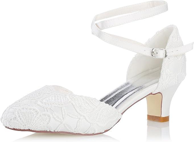 Scarpe Da Sposa Tacco 5 Cm.Mrs White 0096 7 Scarpe Da Sposa Da Donna Punta Chiusa 5cm Tacco