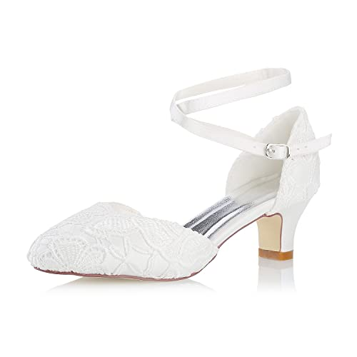 Scarpe Da Sposa Pizzo.Mrs White 0096 7 Scarpe Da Sposa Da Donna Punta Chiusa 5cm Tacco