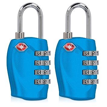 kwmobile 2 candados con Certificado TSA - 2X Candado de Seguridad con código numérico - Cerradura