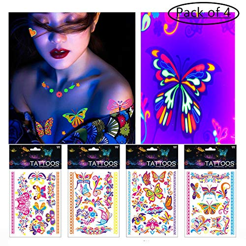 BlueSpace Cool Temporary Tattoos for Women Men Kids Halloween Party Body Tattoo Stickers 4 Sheets Glitter Waterproof Colorful Tattoo Halloween Supplies Arm Leg Accessories (Butterfly Heart Bohemian) -