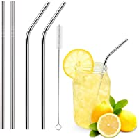 Stainless Steel Drinking Straws, Reusable Metal Drinking Straws Set of 4 with 1 Free Cleaning Brush Included (2 Straight…