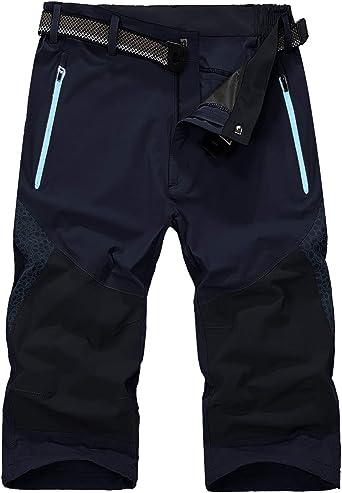 KEFITEVD Pantalones de Hombre Pantalones de Senderismo 3/4 Pantalones Cortos de Trekking elásticos de Secado rápido Pantalones de Verano