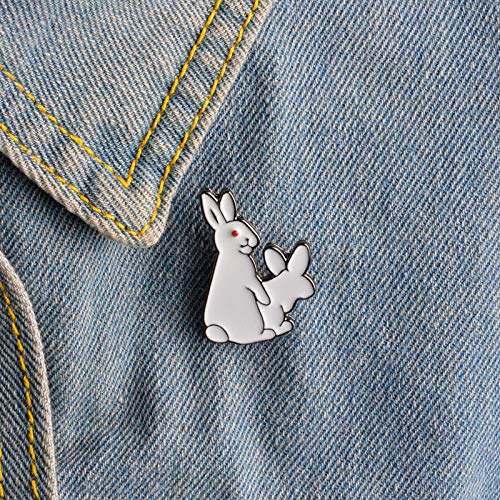 Price comparison product image Badges - White Enamel Cute Rogue Rabbits Brooches Pins Badge Denim Jacket Button Lapel Pin Brooch Jewelry - To Supplies Honor Jacket Backpack Magnetic Nailed And Stickers Computer