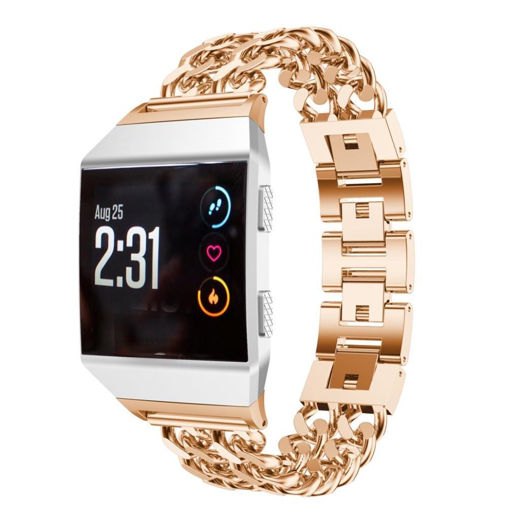 yjydada新しいソリッドステンレススチールスマート時計バンドストラップメタルバンドfor Fitbit Ionic 140MM-210MM  ローズゴールド B076KC99K3