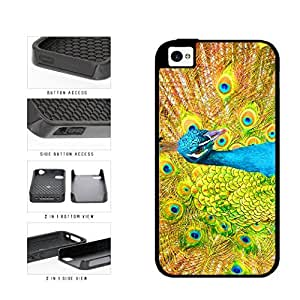 Bright Colored Peacock Feathers Dual Layer Phone Case Back Cover Apple iPhone 5c includes diy case Cloth and Warranty Label
