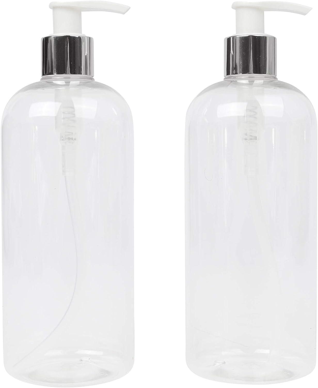 reciclables LUCEMILL 2 botellas de pl/ástico transparente de 500 ml PET Boston con dispensadores de bomba de loci/ón de cuello blanco y plateado