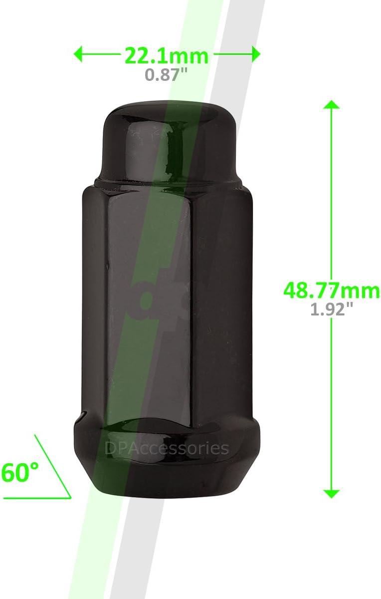19mm Hex Wheel Lug Nut Cone Seat DPAccessories LCB4B8HE2BK04024 24 Black 14x1.5 Closed End XL Bulge Acorn Lug Nuts