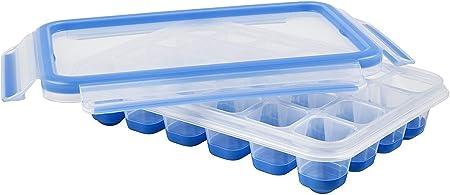 Oferta amazon: Emsa Clip & Close Bandeja para Hielo con Tapa hermética, Plástico, Azul, 33.6 x 17.2 x 27.5 cm