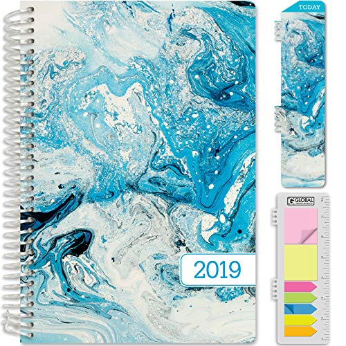 "HARDCOVER Calendar Year 2019 Planner: (November 2018 Through December 2019) 5.5""x8"" Daily Weekly Monthly Planner Yearly Agenda. Bonus Bookmark, Pocket Folder and Sticky Note Set (Blue Marble)"
