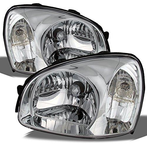 Fits Hyundai Santa Fe OE Replacement Chrome Bezel Headlights Driver/Passenger Head Lamps Pair - Santa Headlight Headlamp Fe Hyundai