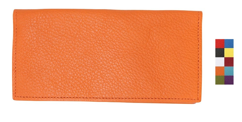 Orange Genuine Colorado Leather Collection Checkbook Cover – American Factory Direct – Made in USA by Real Leather Creations - Prime Quality Register Cover FBA637