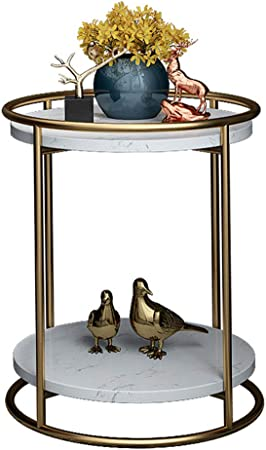 NATUO-Mesas de Muebles Mesa Auxiliar Doble de jardín Mesa Auxiliar de jardín Mesa Redonda pequeña para Patio con Estante de Almacenamiento, Aspecto de Metal Industrial de Mediados de Siglo, Marco de: Amazon.es: