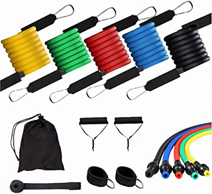 11pcs Sets Resistance Band Fitness Gyms Exercise Trength Train with Large Buckle