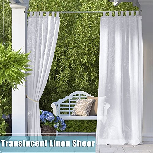 RYB HOME Sheer White Curtains – Semitransparent Easy Dry Tab Top Sime-sheer Volie Curtains Light Flirt Privacy Protect for Pergola/Gazebo/Patio with Free Rope Tieback, W 54 x L 108 In, 1 Panel Review