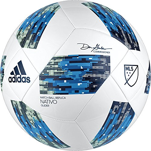 adidas MLS Glider Soccer Ball, White/Blue, Size 5 - Balls Dog Nylon