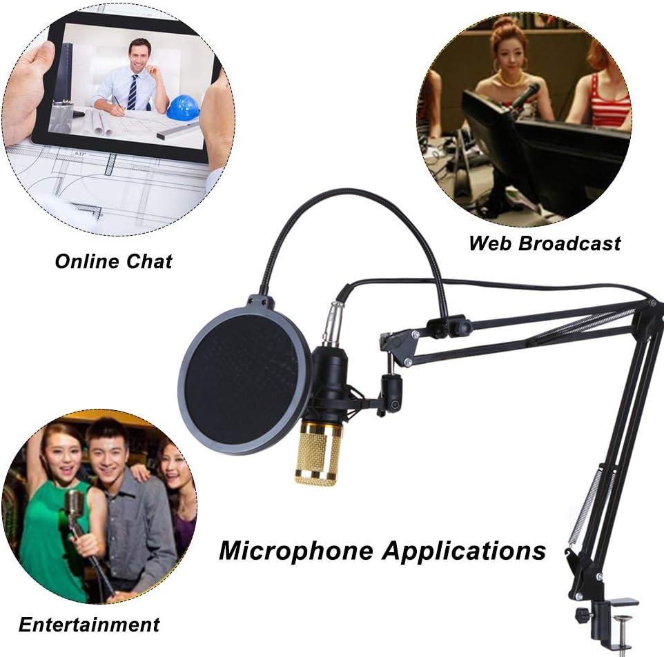 Leeofty Multifunktionale Live-Soundkarte und BM800-Aufh/ängungsmikrofon-Kit Broadcasting Recording-Kondensatormikrofon-Set Intelligente Lautst/ärke-einstellbare Audio-Mixer-Soundkarte