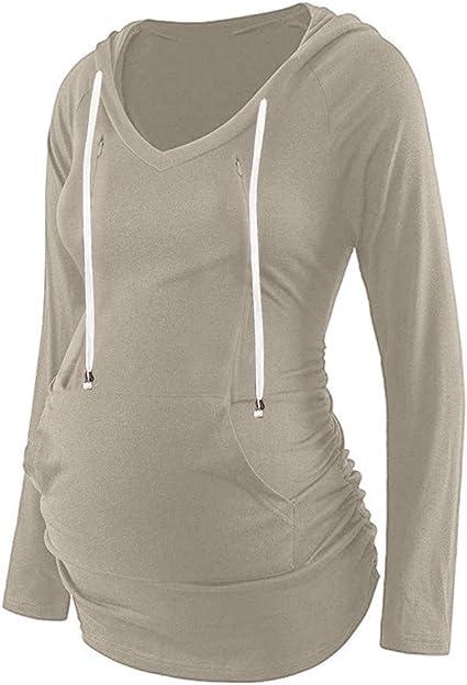 Wodstyle - Womens Maternity Plain Long Sleeve V Neck