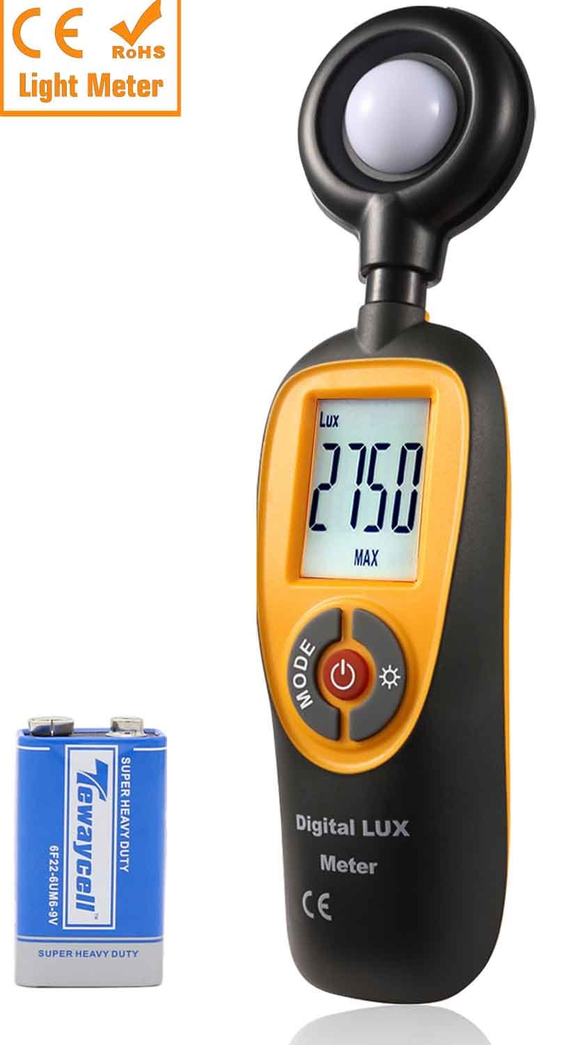 HTI@XT Instrument Light Meter, Digital handheld Foot Candle Meter with Lcd Display,Actionometer Illuminance Measuring Range 0.1-200,000 Lux/0.01-20,000 Fc (One 9V Battery Included)