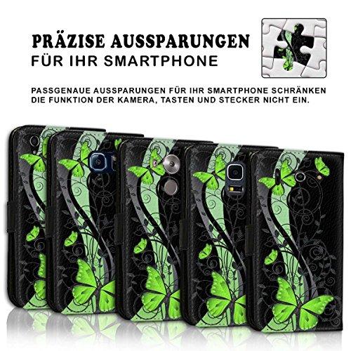 Wallet Book Style Flip Handy Tasche Case Schutz Hülle Schale Motiv Etui für Apple iPhone 5 / 5S - Design Flip MVD432