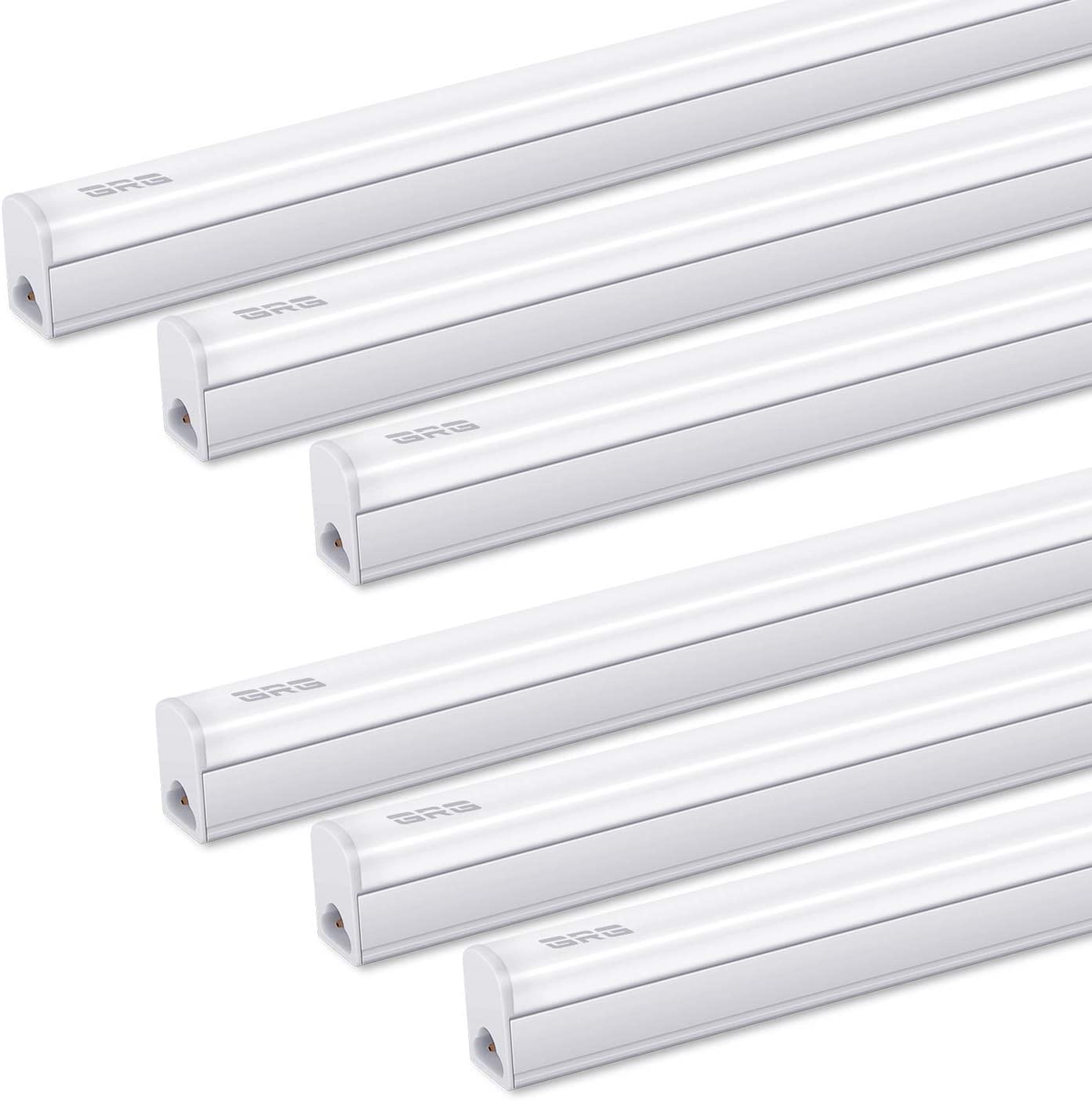 Pack of 6 GRG Linkable LED Utility Shop Light, Garage Lights, 4Ft 20W 2200lm 6500K, T5 Integrated Single Fixture, LED Ceiling Under Cabinet Light, T5 T8 Fluorescent Tube Light Fixture Replacement