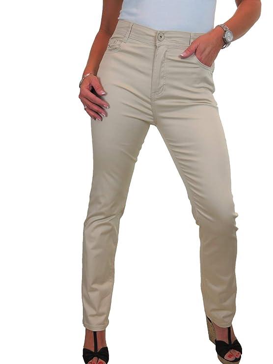 Jeans para Mujeres, Cintura Alta, Tela con Brillo 38-52: Amazon.es ...