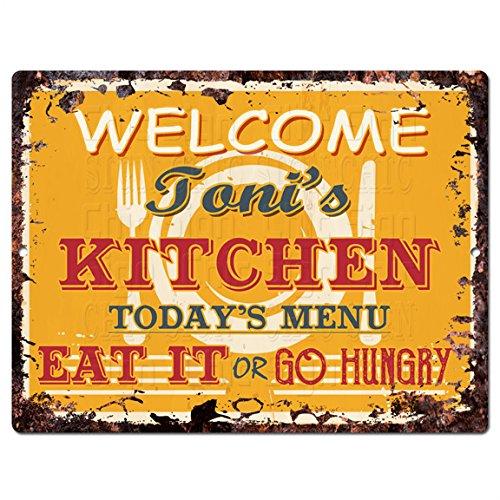 Bienvenido cocina de Toni Chic placa metálica, Vintage ...