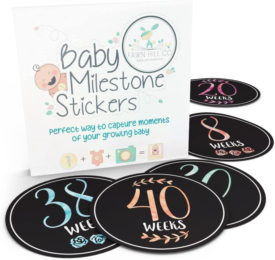 Pregnancy Stickers   16 Baby Belly Bump Weekly Milestone Sticker for Mom-to-Be Up to 40 Weeks   Includes 4 Adorable Bonus Stickers   Great for Journal Keepsake Box   Perfect Gift Ideas for Women
