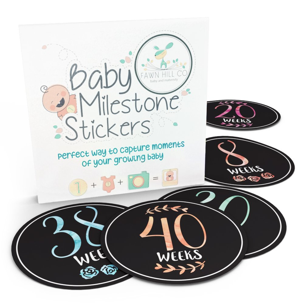Pregnancy Stickers - 16 Baby Belly Bump Weekly Milestone Sticker for Mom-to-be upto 40 Weeks with 4 Amazing Free Stickers - Perfect Gift Ideas for Women FAWN HILL CO. 646437196499