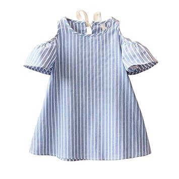 16de40f69daad Beikoard Girl clothing Sweet Elegant Baby Girls Princess Dress Short Sleeve Striped  Dresses (11T, Blue): Amazon.co.uk: Garden & Outdoors